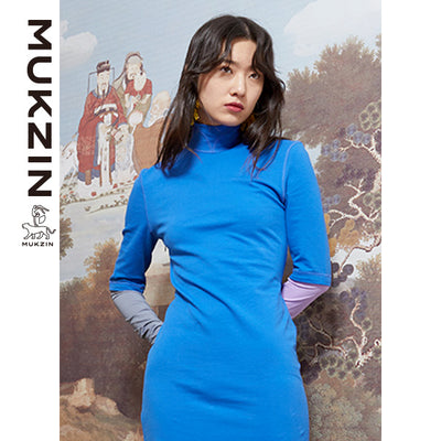 Mukzin Designer Brand Long Sleeve High Collar Blue Dress