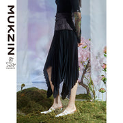 Mukzin Designer Brand Black Irregular Pleated Skirt - DRAGON SCALE PAVILION