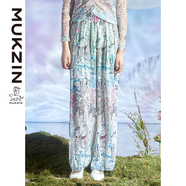 Mukzin Designer Brand  Mesh Floating Pants - DRAGON SCALE PAVILION
