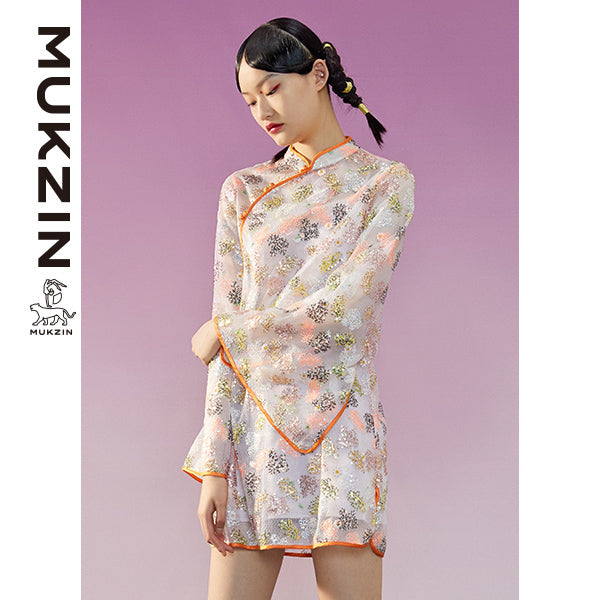 Mukzin Designer Brand Qipao with Sequins Embroidery-TALISMAN