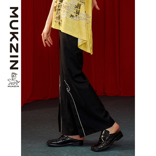 Mukzin Designer Black High-Waist Wide Leg Pants- DRAGON SCALE PAVILION