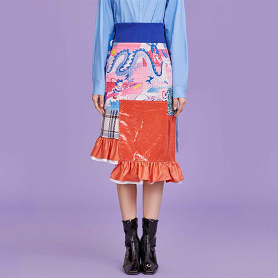 Mukzin Designer Contrast Color Ruffle Fishtail Skirt- NE ZHA
