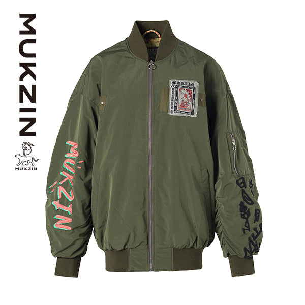 Mukzin Designer Brand Long-Sleeved Embroidered Cotton Green Jacket - SPACE IN THE GOURD