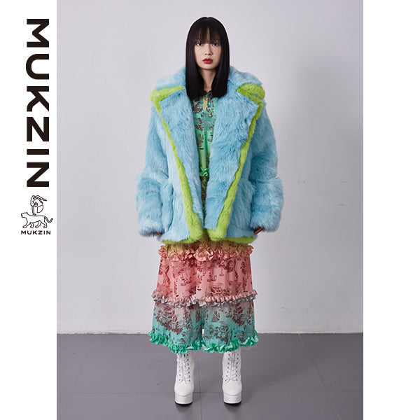 Mukzin Designer Brand Faux Fur Blue Coat- SPACE IN THE GOURD