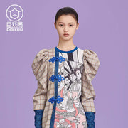 Mukzin Designer Brand Splicing Cartoon Pattern Chinese Style Women Dress - Ne Zha