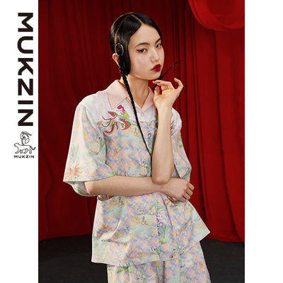 Mukzin Designer Chiffon Shirt with Phoenix Embroidery - DRAGON SCALE PAVILION