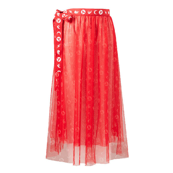 Mukzin Designer Brand Print Ribbon Pleated Skirt- NE ZHA