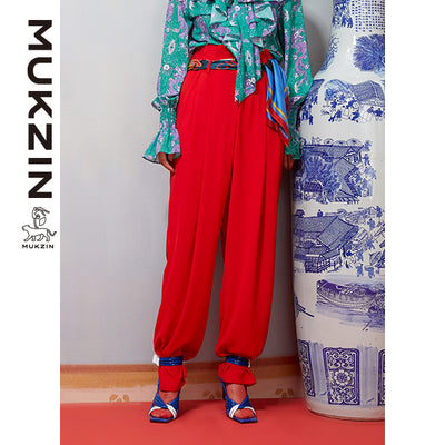 Mukzin Designer Brand High Waist Casual Red Pants-DAAN