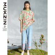 Mukzin Designer Brand Tiger Print in Gouache Style T-Shirt - DRAGON SCALE PAVILION