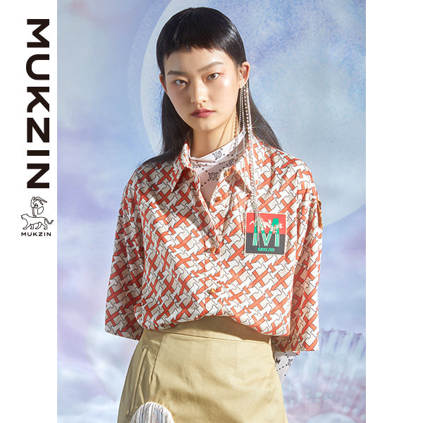 Mukzin Designer Orange Casual T-Shirt- DRAGON SCALE PAVILION