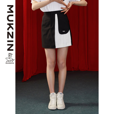 Mukzin Designer High-Waist Black Skirt - DRAGON SCALE PAVILION