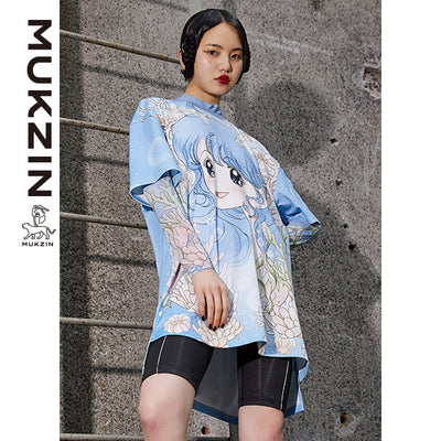 Mukzin Designer Blue Cartoon Character Print Dress - DRAGON SCALE PAVILION