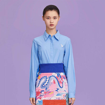 Mukzin Designer Long Sleeve Blue Casual Blue Shirt- Ne Zha