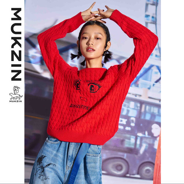 Mukzin Designer Brand Cartoon Character Print Red Sweater - MONSTER SWEETHEART