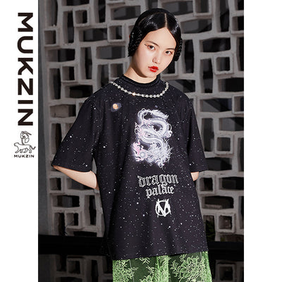 Mukzin Designer Black Dragon Print Round Neck T-Shirt -DRAGON SCALE PAVILION
