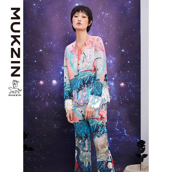 Mukzin Designer Brand Sequin Splicing Goddess Suit
