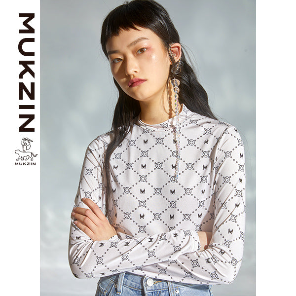 Mukzin Designer Brand White Bottoming Shirt- DRAGON SCALE PAVILION