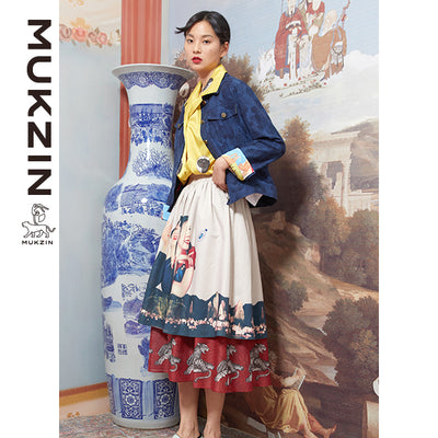 Mukzin Designer Brand Layer Retro Printed Pleated Chiffon Skirt