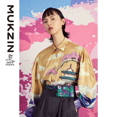 Mukzin Designer Brand Chinese Style Printed Silk Chiffon Shirt - SPACE IN THE GOURD