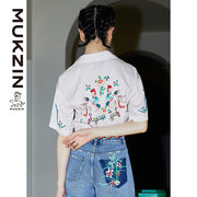 Mukzin Designer Brand White Chic Style T-Shirt-DRAGON SCALE PAVILION