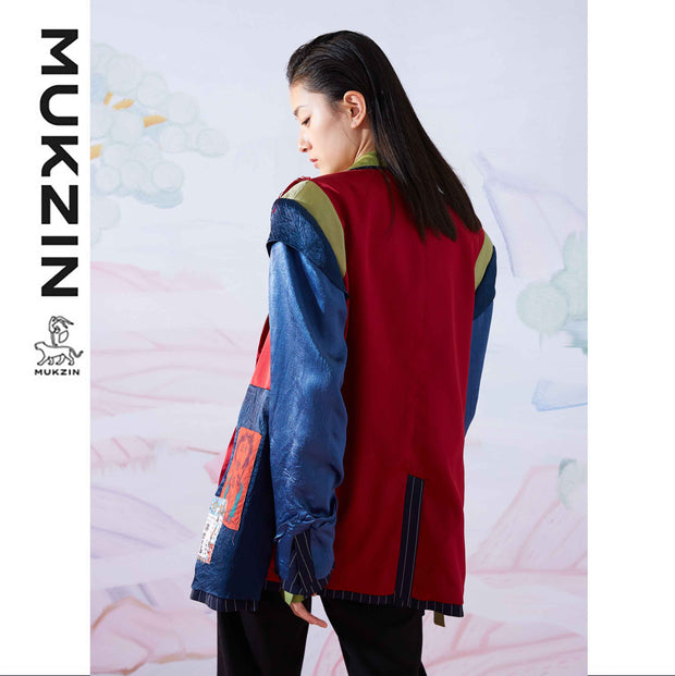 Mukzin Designer Brand Multiple Stitching Tassel Reversible Coat - SPACE IN THE GOURD