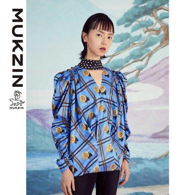 Mukzin Designer Brand Dots Print Retro Satin Plaid Shirt - SPACE IN THE GOURD