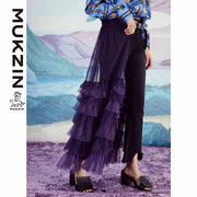 Mukzin Designer Brand Purple Knit Detachable Retro Loose Dress- SPACE IN THE GOURD