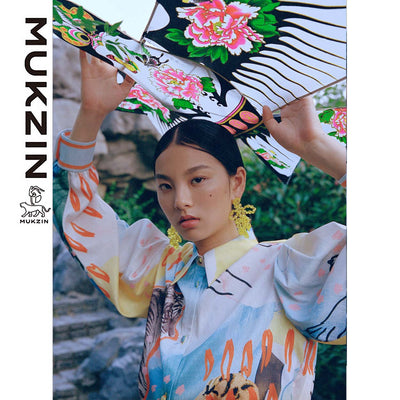Mukzin Designer Brand Graffiti Printing Contrast Color Shirt- SPACE IN THE GOURD