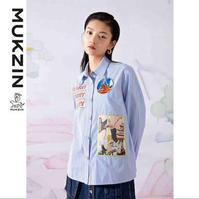 Mukzin Designer Brand Blue Stripe Pattern Fashion Shirt - SPACE IN THE GOURD