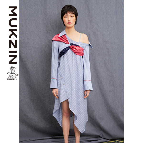Mukzin Designer Brand Vintage Wwide Stripe Off Shoulder Dress