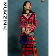 Mukzin Designer Brand Wave Yarn Print Ruffle Dress