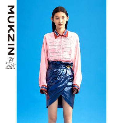 Mukzin Designer Brand Embroidery Blue Skirt