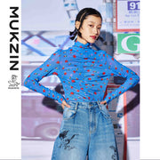 Mukzin Designer Brand Blue High Collar Shirt- SUPER POWER