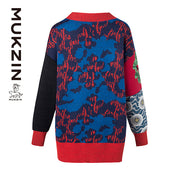 Mukzin Designer Brand Round Neck Blue Cardigan - SPACE IN THE GOURD
