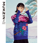 Mukzin Designer Brand Flower Moire Pattern Sweater - SPACE IN THE GOURD
