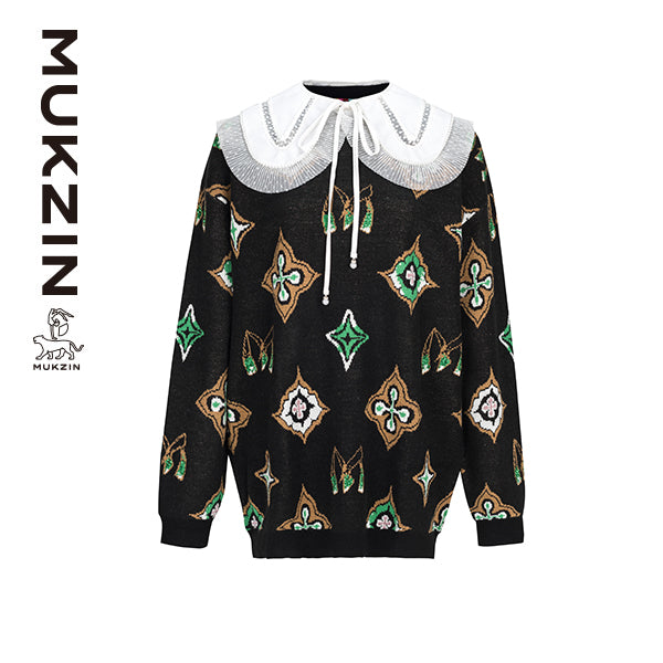 Mukzin Designer Brand Black Sweater- ADVENTURE IN SPACE