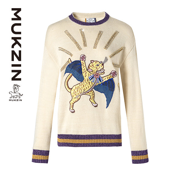 Mukzin Designer Brand Tiger Embroidery Beige Sweater - SPACE IN THE GOURD