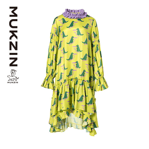 Mukzin Designer Brand Green Convergence Contrast Irregular Dress- MONSTER SWEETHEART