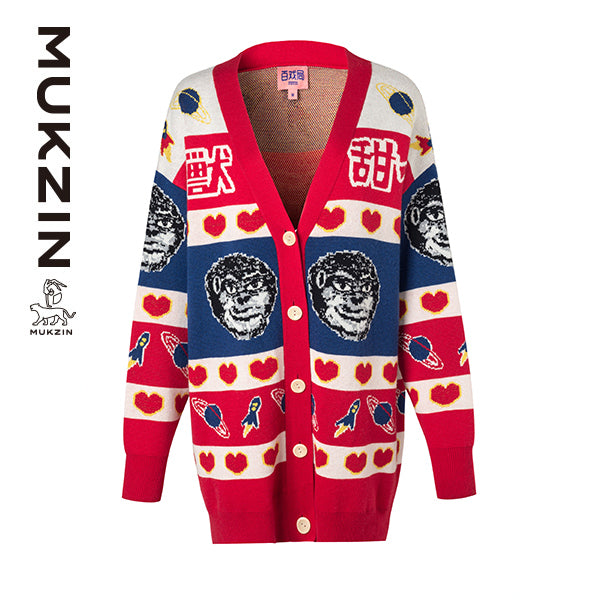 Mukzin Designer Brand Contrast Color Cardigan - MONSTER SWEETHEART