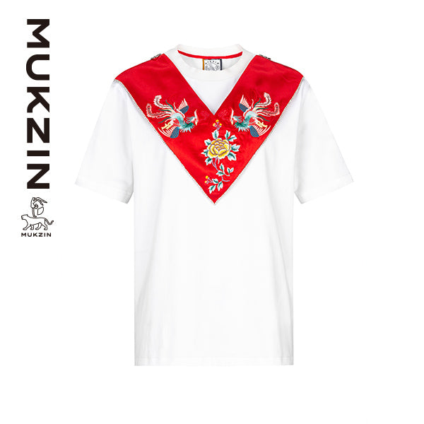 Mukzin Designer White T-Shirt with Removeable Phoenix Embroidery Yunjian - DRAGON SCALE PAVILION