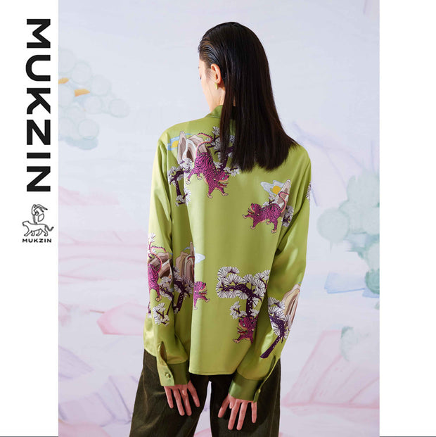 Mukzin Designer Brand Print Loose Satin Shirt - SPACE IN THE GOURD