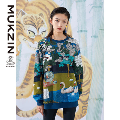 Mukzin Designer Brand Traditional Chinese Style Printing Hoodie - SPACE IN THE GOURD