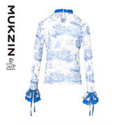 Mukzin Designer Brand Blue and White Porcelain Shirt- SPACE IN THE GOURD