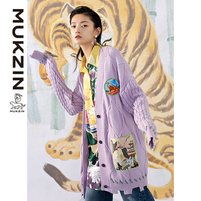 Mukzin Designer Brand Purple Cardigan- SPACE IN THE GOURD