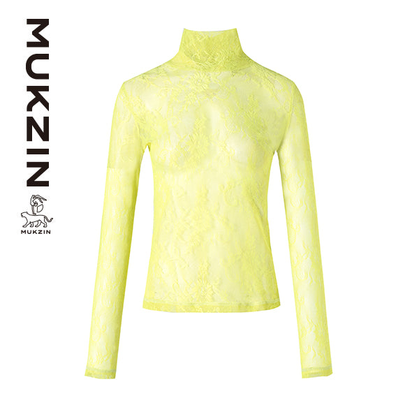 Mukzin Designer Brand Lace High Collar Base Shirt- SPACE IN THE GOURD