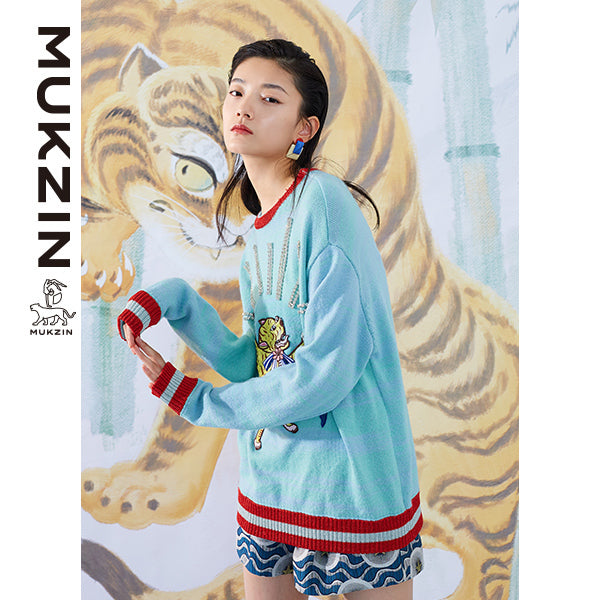 Mukzin Designer Brand Tiger Embroidery Light Blue Sweater - SPACE IN THE GOURD