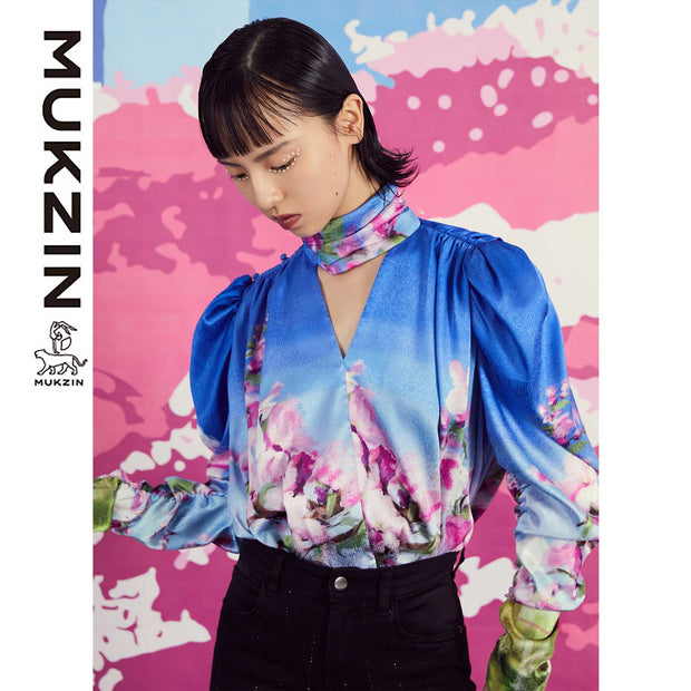 Mukzin Designer Brand Printed Peach Pattern Retro V-neck Shirt- SPACE IN THE GOURD