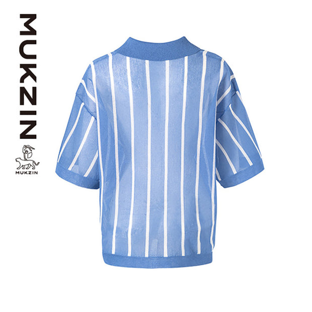 Mukzin Designer Brand Summer Breathable Blue Polo T-shirt- Kowloon Walled City
