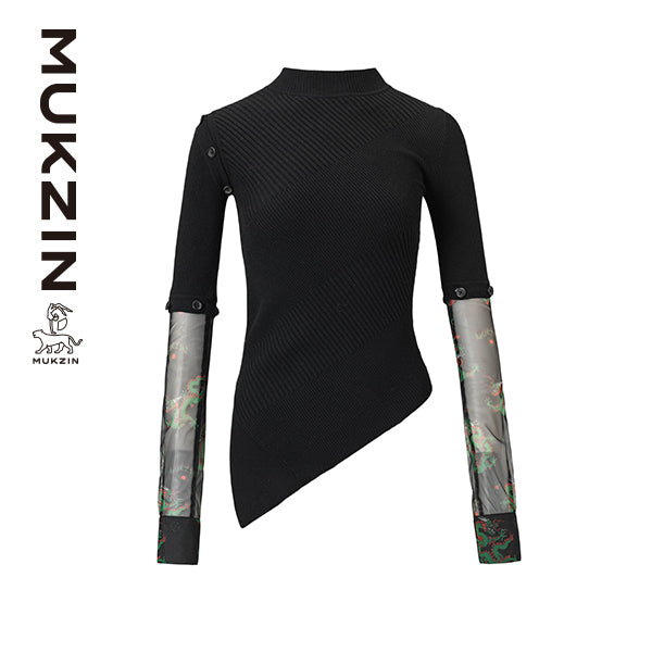 Mukzin Designer Brand Black Sweatershirt  - DRAGON SCALE PAVILION