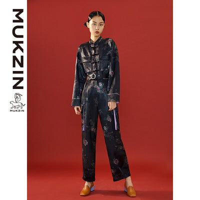 Mukzin Designer Brand  Black Jumpsuit in Flower Print Style - SPACE IN THE GOURD